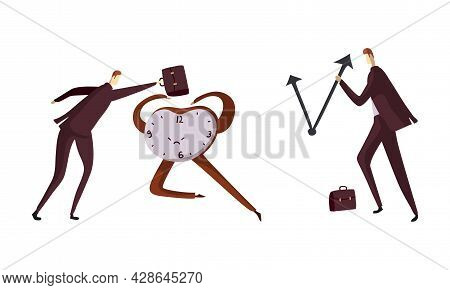Man Office Worker With Briefcase Pulling Clock Arrow Back As Time Management And Workload Deadline P