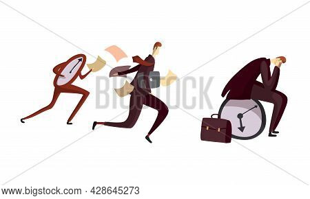 Man Office Worker Holding Head And Escaping From Clock As Time Management And Workload Deadline Pres