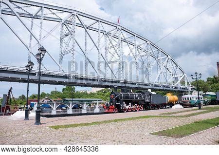 Khabarovsk, Russia, July 8, 2021: Open-air Museum Of The Amur Bridge