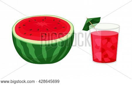 Fresh And Juicy Watermelon Fruit With Red Flesh And Black Seeds And Cold Drink In Glass Vector Set
