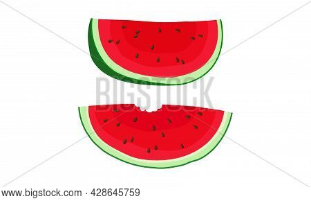 Piece Of Fresh And Juicy Watermelon Fruit With Red Flesh And Black Seeds Vector Set