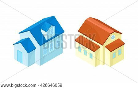 Detached House Or Residence As Free-standing Building Isometric Vector Set