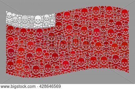 Mosaic Waving Abu Dhabi Flag Created Of Piracy Elements. Hazard Vector Waving Collage Abu Dhabi Flag