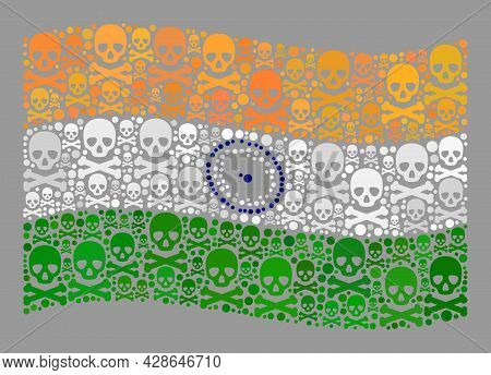 Mosaic Waving India Flag Designed Of Death Items. Mortal Vector Waving Mosaic India Flag Combined Fo