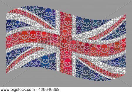 Mosaic Waving United Kingdom Flag Designed Of Piracy Items. Mortal Vector Waving Mosaic United Kingd