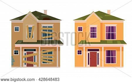 Abandoned House. Home Renovation. House Before And After Repair. New And Old Suburban Cottage. Vecto