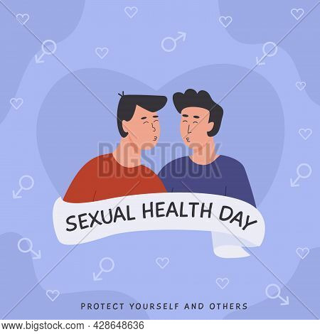 World Sexual Health Day Square Card. Homosexual Gay Couple In Love. Sex Education. Contraceptive Met