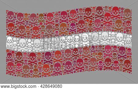 Mosaic Waving Latvia Flag Designed With Death Icons. Death Vector Waving Collage Latvia Flag Done Fo