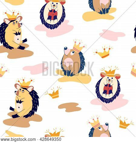 Seamless Pattern With Cute Hedgehogs. Forest Animals. Hedgehogs In Crowns. Scandinavian Background.