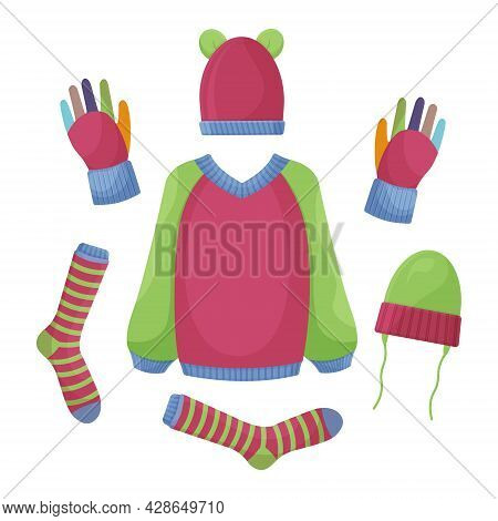 A Set Of Warm Autumn Clothes, Such As A Sweater, Gloves, Warm Socks And Red And Green Hats. Autumn-w