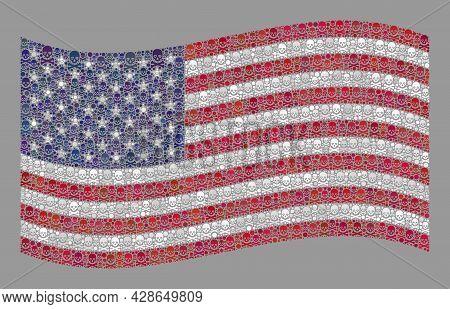 Mosaic Waving Usa Flag Designed With Piracy Elements. Mortal Vector Waving Mosaic Usa Flag Created F