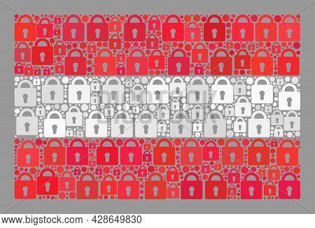 Mosaic Protection Austria Flag Designed Of Lock Items. Vector Collage Rectangle Austria Flag Combine