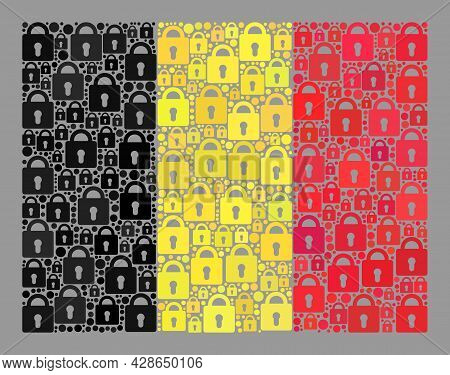 Mosaic Locked Belgium Flag Designed With Lock Items. Vector Collage Rectangle Belgium Flag Designed