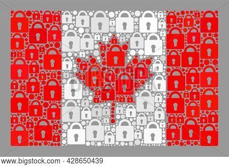 Mosaic Secrecy Canada Flag Designed Of Lock Icons. Vector Mosaic Rectangular Canada Flag Created For