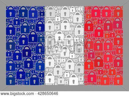 Mosaic Secret France Flag Designed Of Lock Elements. Vector Collage Rectangle France Flag Created Fo