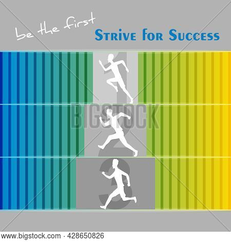 Man Silhouette Running To Be Successful, To Be The First, Be The Best, Leader In Work With Striving