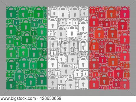 Mosaic Guard Italy Flag Designed With Lock Icons. Vector Collage Rectangular Italy Flag Designed For