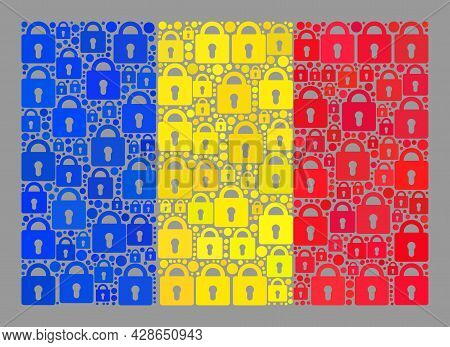 Mosaic Secrecy Romania Flag Designed Of Lock Items. Vector Collage Rectangular Romania Flag Created