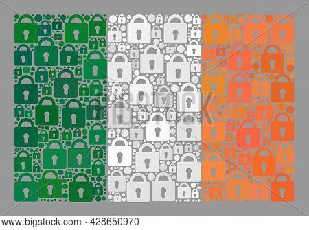 Mosaic Locked Ireland Flag Designed With Lock Icons. Vector Mosaic Straight Ireland Flag Created For