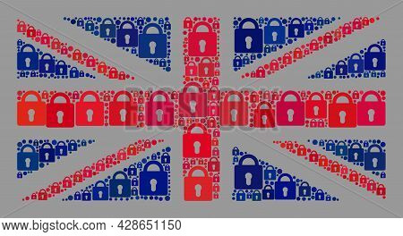 Mosaic Protection Great Britain Flag Designed Of Lock Items. Vector Mosaic Straight Great Britain Fl