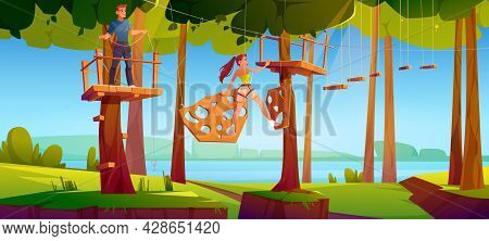 Adventure Park Rope Ladder Illustration. People Climbing On Wooden Timbers And Rungs Hanging On Tree