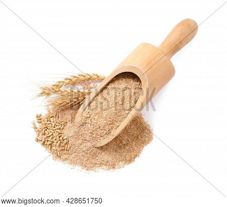 Wooden Scoop With Wheat Bran On White Background, Top View