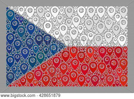 Mosaic Pointer Czech Flag Designed With Cartography Items. Vector Mosaic Straight Czech Flag Designe