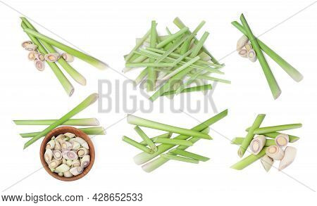 Set With Aromatic Fresh Lemongrass On White Background, Top View
