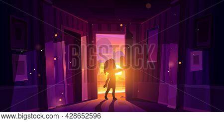 Girl Open Door Entering Home. Child Silhouette In Doorway On Background Of Sunset Landscape. Vector