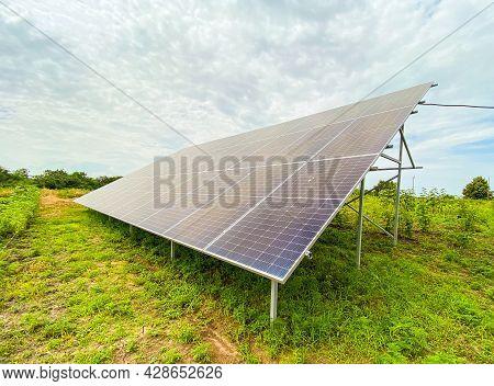 Solar Panels Installation: Solar Panel On Blue Sky Background, Alternative Energy Concept, Clean Ene