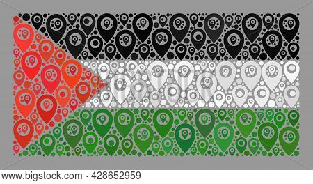 Mosaic Navigation Palestine Flag Designed With Position Elements. Vector Collage Rectangle Palestine