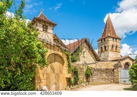 Carennac, France - June 23,2021 - View At The Church Of Saint Pierre In The Streets Of Carennac Vill