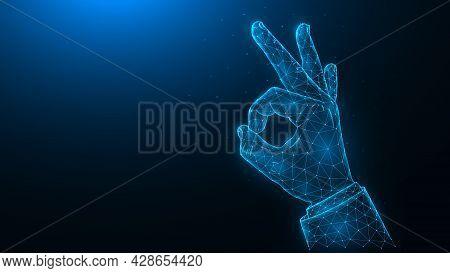 Ok Hand Gesture Low Poly Art, Polygonal Vector Illustration Ok Sign Or Ring Gesture On A Dark Blue B