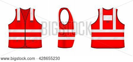 Safety Reflective Vest Icon Sign Flat Style Design Vector Illustration Set. Red Fluorescent Security