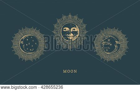 Set Of Moon Drawings With Halo In Engraving Style.
