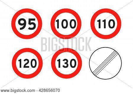 Speed Limit 95, 100, 110, 120, 130, Round Road Traffic Icon Sign Flat Style Design Vector Illustrati