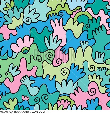 Abstract Seamless Pattern On Colorful Background. Doodle Plants Wallpaper. Line Art Branched Print.