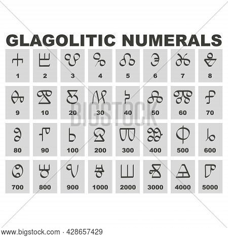Set Of Monochrome Icons With Glagolitic Numerals For Your Project