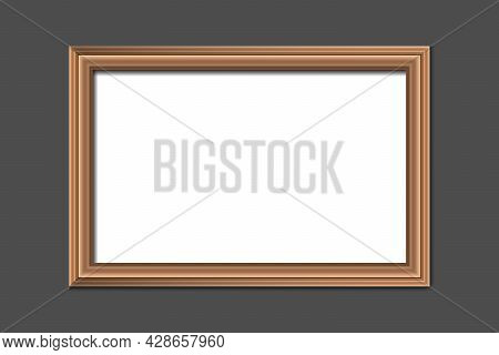 Empty Hanging Picture Or Poster Frame On A Gray Wall For Mock Up. Decoration Concept . Vector Illust