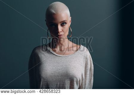 Millenial Young Woman With Short Blonde Hair Portrait