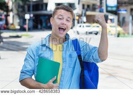 Cheering German Exchange Student In America Outdoor In City In Summer