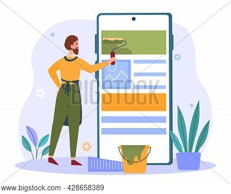 Male Character Is Roll Painting User Interface On Smartphone Screen. Concept Of Creating User Interf