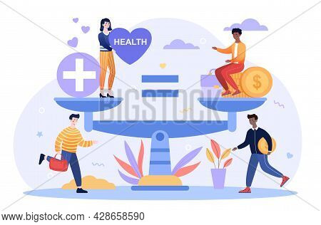 Health Care And Work Conflict Of Interest, Imbalance Comparison. Healthy Heart And Tired Exhausted S