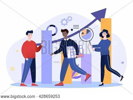 Science Statistics. Hitech Technology Solutions With Development Graphs And Diverse People. Characte