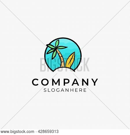 Vector Illustration Of Tropical Beach With Surf Board Logo Perfect For Beach Resort And Modern Compa