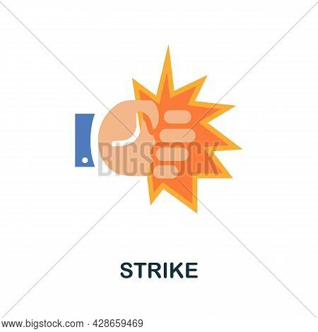 Strike Flat Icon. Color Simple Element From Activism Collection. Creative Strike Icon For Web Design