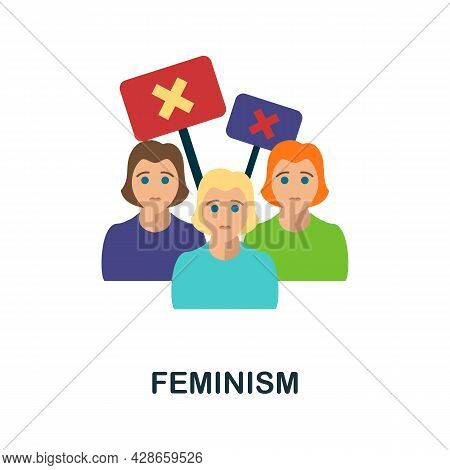 Feminism Flat Icon. Color Simple Element From Activism Collection. Creative Feminism Icon For Web De