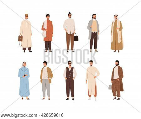 Set Of Modern Arabic Men In Arab Fashion Clothes. Islamic People Wearing Traditional And Stylish Cas