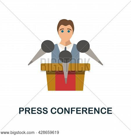 Press Conference Flat Icon. Color Simple Element From Activism Collection. Creative Press Conference
