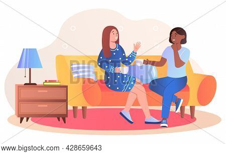 Smiling Female Friends Are Talking And Drinking Tea At Home. Happy Friends Laughing And Gossiping On